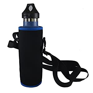 Insulated Water Bottle Carrier for Hydro Flask, Klean Kanteen, Black with Blue Rim, 21 oz