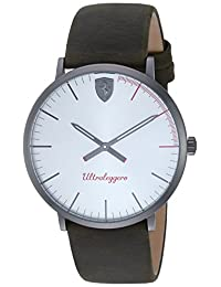 Scuderia Ferrari Men's 'ULTRALEGGERO ULTRA SLIM' Quartz Stainless Steel and Leather Casual Watch, Color:Brown (Model: 0830408)