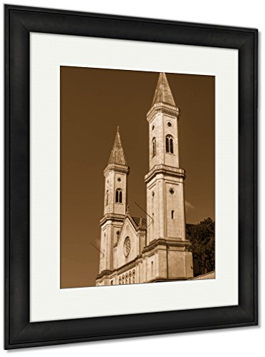 Ashley Framed Prints Catholic Parish And University Church Ludwigskirche In Munich G, Wall Art Home Decoration, Sepia, 35x30 (frame size), Black Frame, AG6544603 by Ashley Framed Prints