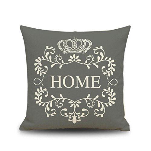 Pillow Cases Sofa Waist Throw Cushion Cover Pillow Sham Home Décor Crown Vintage Pillowslip (GREY, S)