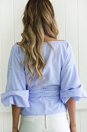Femmes Chemisier Longra Bandage V Bleu cou Dcontracte X4dqwd0