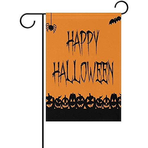 HUNAFIVG Premium Decorative Flags for Outdoors, Happy Halloween Signs Polyester Valentine's Day Garden Flag 12 x 18 Inch Banner Printing for Yard Decor