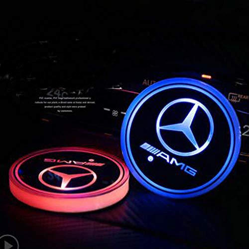 AMG LED Cup Holder Lights, Mercedes-Benz AMG Accessories Car Logo Coaster with 7 Colors Changing USB Charging Mat, Luminescent Cup Pad Interior Atmosphere Lamp Decoration Light (2 PCS)