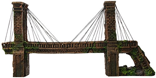 Penn Plax Medium Brooklyn Bridge For Fish Tank Aquarium Decoration ()