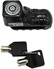 Perfk Stainless Steel Motorcycle Disc Brake Lock, Motorbike Anti-Theft Waterproof Alarm Wheel Lock for Motorcycles Bicycle ATV (Black)