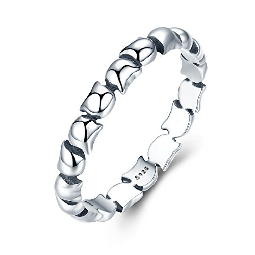 BAMOER New Arrival 925 Sterling Silver Lovely Kitty Cat Trail Stacking Ring for Women Engagement Gifts (New Sterling Silver Cat Ring)