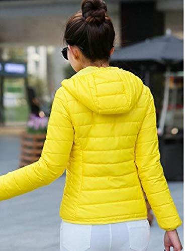 Donne Colore Cerniera Giallo Colori Di Cappuccio Delle Cappotto Caldo Di Pura Corto Rkbaoye Lana Con qT6OPn