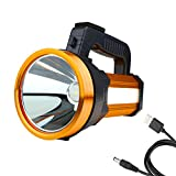 Roadwiz Super Bright LED Searchlight Rechargeable Handheld Flashlight Power Bank and SOS Emergency Mode Spotlight Outdoor Security, Aluminium Frame, Illumination 2600ft (800 Meter)