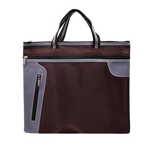 tweight Filing File Bag Document Folder Storage Bag Handbag Portable Documents Pockets Case for Office Men Women (Tan 5 Id Wallet)