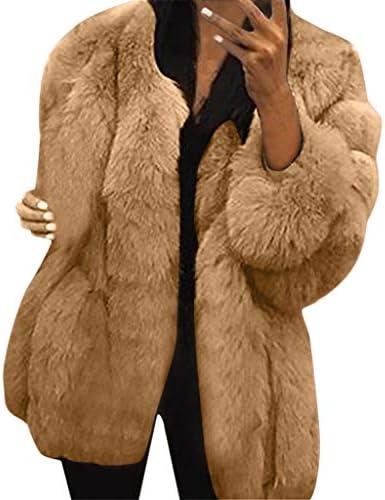 レディース コート ラウンドネック長袖ぬいぐるみフェイクファーポケットレスコート レディスタイル 厚くする ぜいたく