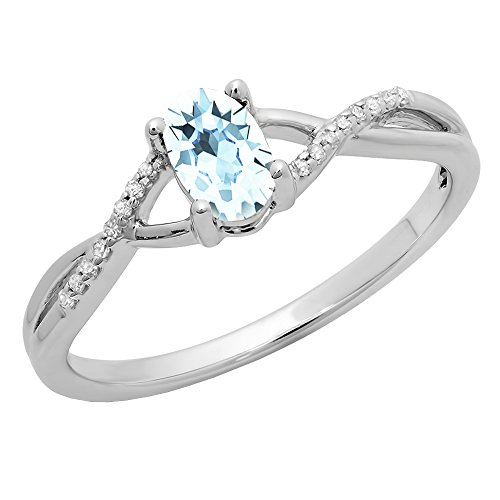 14K White Gold 6X4 MM Aquamarine & White Diamond Bridal Swirl Engagement...