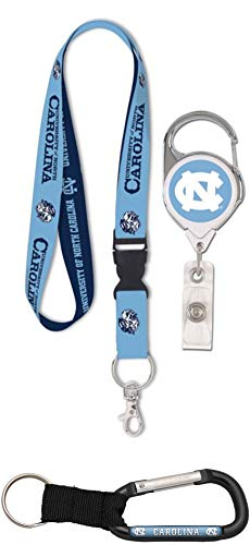 WinCraft Bundle 3 Items: North Carolina UNC Tar Heels 1 Retro Lanyard, 1 Premium Badge Reel 1 Carabiner Key Ring (Jersey Hat Wincraft)