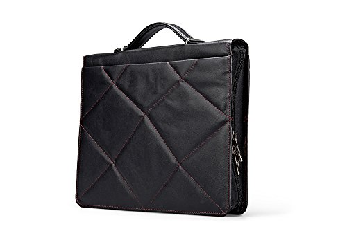 Professional Leather Padfolio with Contrast Stitching, for 11-inch Laptop, Black by iCarryAlls