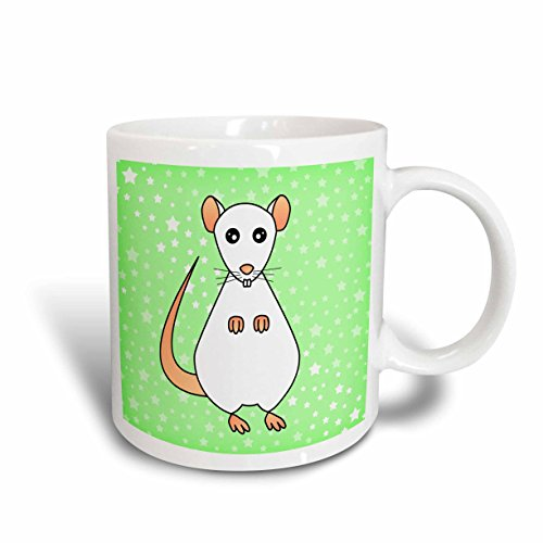 Mug White Rat - 3dRose 10804_1 Cute White Rat Green Star Background Mug 11 oz Multicolor