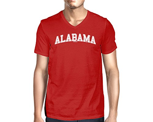 HAASE UNLIMITED Men's Alabama State V-Neck T-Shirt (Red, XX-Large)