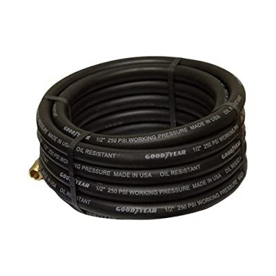 Goodyear Black Rubber Air Hose - 1/2in. x 25ft., 250 PSI, Model# 12191