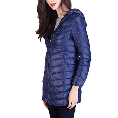 Cerniera 88 Giaccone Donna Piumini Solidi Outerwear Bobo Invernali Colori Cappuccio Lunga Especial Laterali Scuro Giacca Con Calda Blu Tasche Estilo Manica 4Zw7qxw