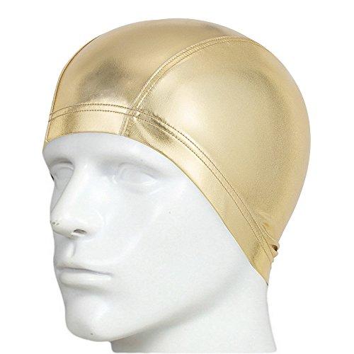 Besplore Adult Silicone Swim Cap Swimming Cap for Long Hair,Metallic Design,Waterproof Unisex No-Slip for Adults Kids Woman and Men One Size Hat,Gold (Nemo Swim Cap)