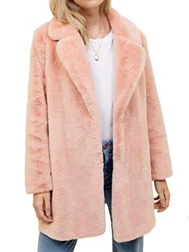 Botanmu Mujer Abrigo de Piel Sintetica Parka Invierno (Rosa)