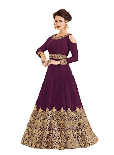 (ziya Ready Made Designer Indian Wear & Ethnic Wear Long Gown Salwar Kameez (Purple, L-42))