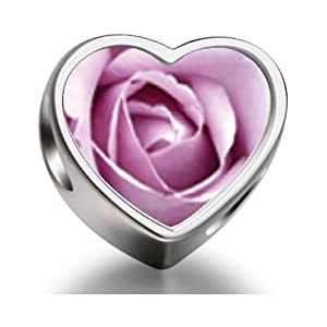 Rarelove Sterling Silver Blooming Rose Heart Photo Charm Beads