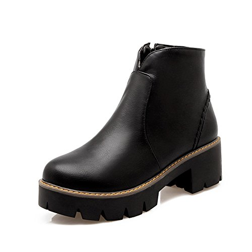 BalaMasa Ladies Zipper Low Heels Platform Imitated Leather Boots Black 8kagWgUv