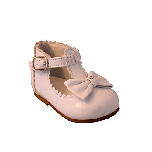 sevva Sally bebé niña primera Walking zapatos con barra en T, lazo y diamante detalle a la delantera. Disponible en tamaños UK 2–