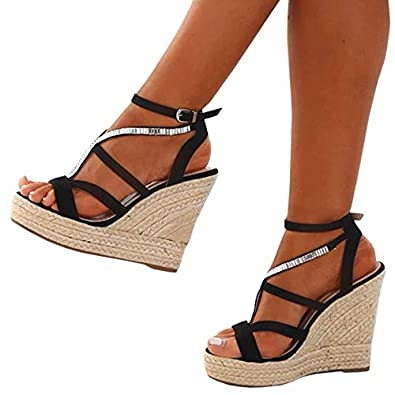 eb5a2aa28f Amazon.com | Chellysun Womens Open Toe Espadrille High Platform Wedge  Sandals Gladiator Sandals Ankle Strap Buckle Shoes | Platforms & Wedges