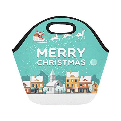 Insulated Neoprene Lunch Bag Snowy Street Urban Winter Lands