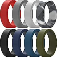 ThunderFit Silicone Rings for Men 8 Rings / 4 rings / 1 Ring - Flat Top Angled Edge Two Layer Rubber Wedding B