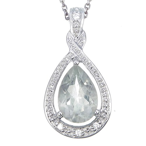 Sterling Silver Green Amethyst Pendant (1.35 CT) With 18 Inch Chain