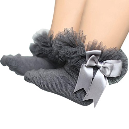 (DIGOOD Suit for 0-6 Years Old Kids, Girls Princess Elegant Bowknot Lace Ruffle Frilly Trim Ankle Socks (2-4 Years Old, Gray) )
