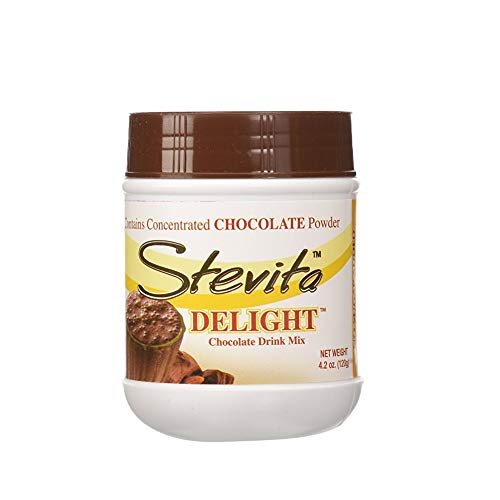 Stevita Delight Sugar Free, Semi Sweet Cocoa Powder - 4.2 Ounce Jar - Organic Stevia Powder and Cocoa Powder Drink Mix, Low Calorie - Vegan, Keto, Gluten Free - 36 Servings
