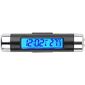 GCARTOUR Car Clock Thermometer Dash Air Vent Automotive Thermometer Time Temperature LCD Digital Backlight Calendar