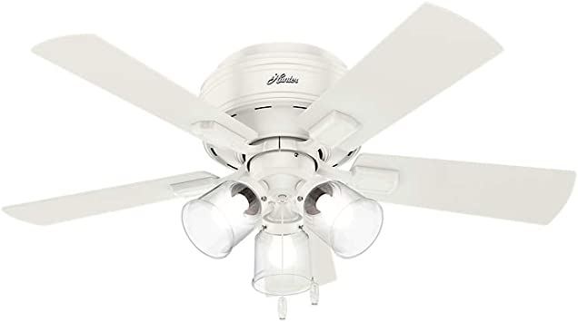 Hunter 52152 Crestfield Indoor Low Profile Ceiling Fan With Led Light And Pull Chain Control 42 Fresh White Amazon Com