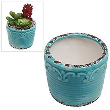 Hand Painted Turquoise Antique Style Fleur De Lis Ceramic Planter / Mini Succulent Plant Pot - MyGift®