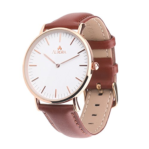 Aurora Women's Metal Retro Casual Round Dial Quartz Analog Wrist Watch with Brown Leather Band-Rose ()