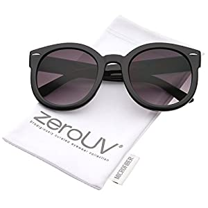zeroUV - Womens Plastic Sunglasses Oversized Retro Style with Metal Rivets (Black Lavender)