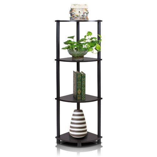Furinno 12078EX/BK Turn-n-Tube Multipurpose 4-Tier Corner Shelf, Espresso/Black (Living Cabinet Room Corner)