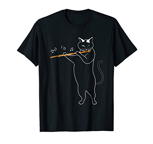 Music Cat Playing the Flute Happiness Musician Gift T (Boy Playing Flute)