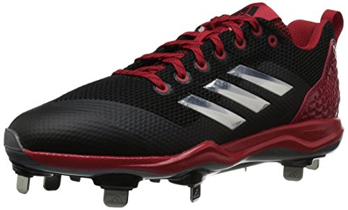 adidas Performance Herren PowerAlley 5 Baseballschuh Schwarz / Metallic Silber / Power Rot