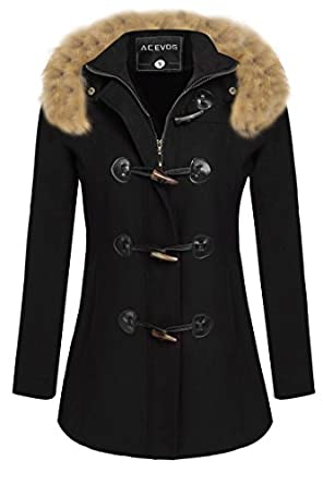 ACEVOG Women's Wool Coat Fur Trim Hooded Parka Jacket Coat Outwear ...