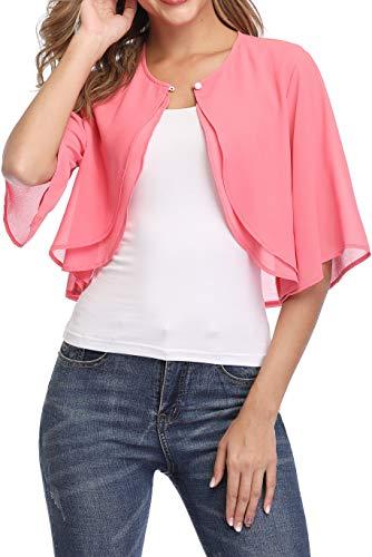 Donnalla Women Short Sleeve Shrug Cardigan Open Front Chiffon Sheer Bolero Jacket Shrugs(Pink,Size S)