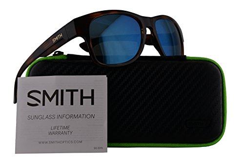 Smith Wayward Sunglasses Havana w/Polarized Blue Mirror Lens 54mm - Slim Sunglasses Serpico