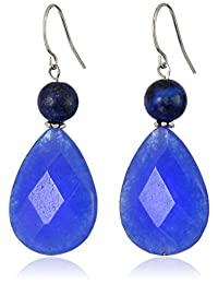 Sterling Silver Simulated Blue Quartz Teardrop Earrings