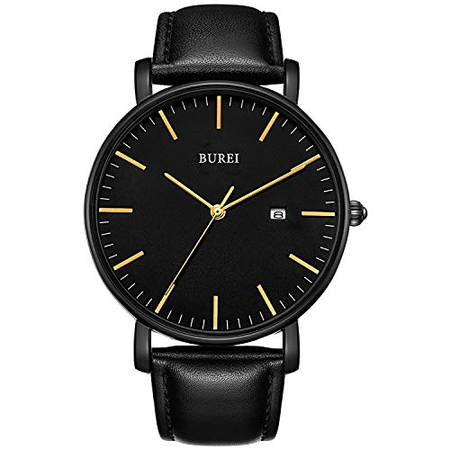 BUREI Men's Fashion Minimalist Wrist Watch Analog Black Dial with with Black Leather Band