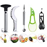 Fruit Slicer Peeler Set of 5 - Stainless Steel Watermelon Slicer, Pineapple Corer, Carving Knife and Melon Baller Scoop, Multi Spoon, Avocado Slicer, Kitchen Tools Gadgets Fruit Cutter by Hapree