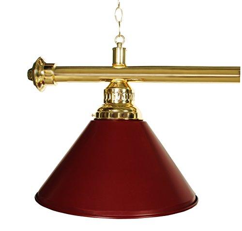 61'' Pool Table Light - Billiard Lamp Brass Rod Choose Burgandy, Green or Black Metal Shades (brass burgundy) by Iszy Billiards (Image #1)