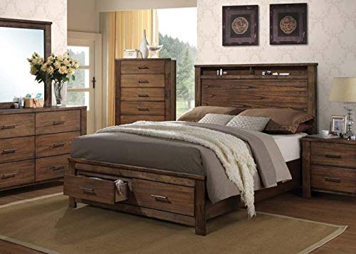Esofastore Antique Brass Metal 4pc Set Contemporary Queen Size Bedroom Bed Oak Finish ()