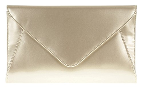 Patent HandBags Bag Clutch Designer Girly Ladies Leather Evening Plain Envelope Faux Gold qEgnpzwdx
